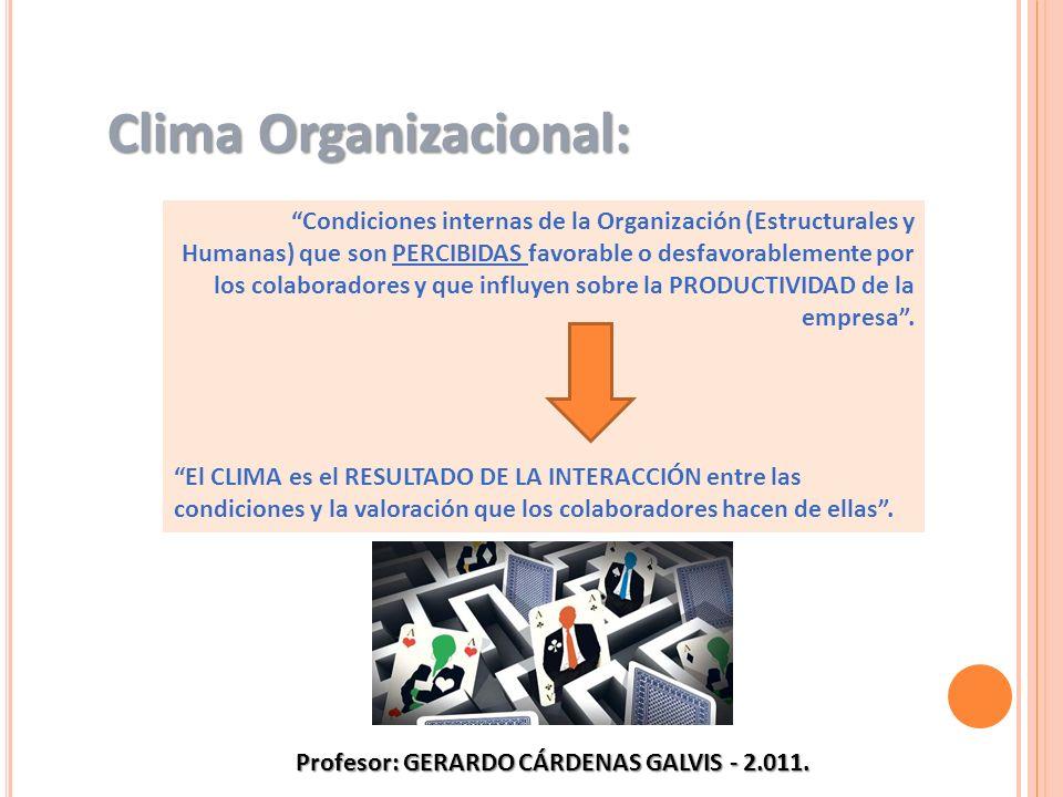 Condiciones internas de la Organización (Estructurales y Humanas) que son PERCIBIDAS favorable o desfavorablemente por los colaboradores y que influye