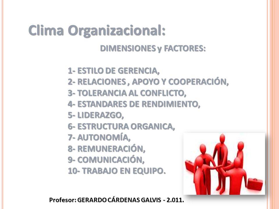 DIMENSIONES y FACTORES: 1- ESTILO DE GERENCIA, 2- RELACIONES, APOYO Y COOPERACIÓN, 3- TOLERANCIA AL CONFLICTO, 4- ESTANDARES DE RENDIMIENTO, 5- LIDERA