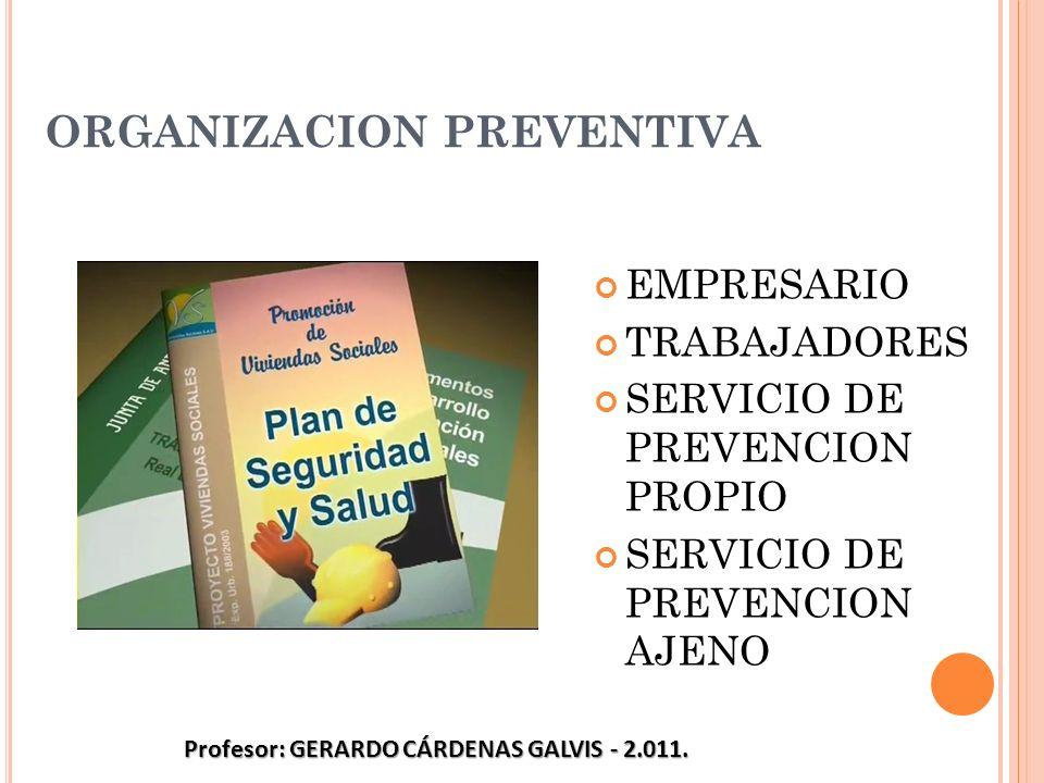 ORGANIZACION PREVENTIVA EMPRESARIO TRABAJADORES SERVICIO DE PREVENCION PROPIO SERVICIO DE PREVENCION AJENO Profesor: GERARDO CÁRDENAS GALVIS - 2.011.
