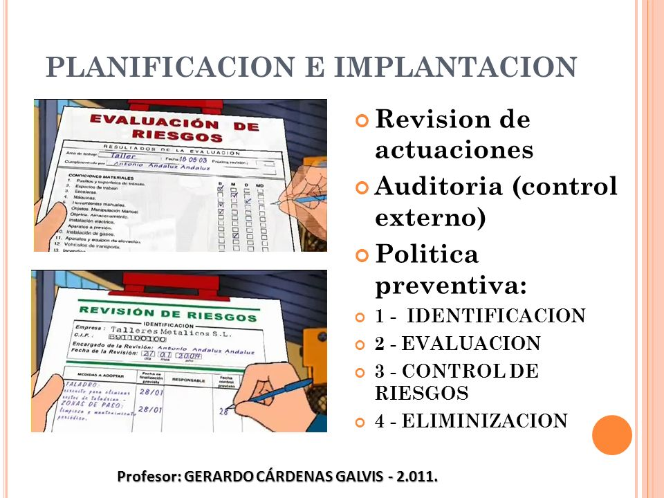 PLANIFICACION E IMPLANTACION Revision de actuaciones Auditoria (control externo) Politica preventiva: 1 - IDENTIFICACION 2 - EVALUACION 3 - CONTROL DE