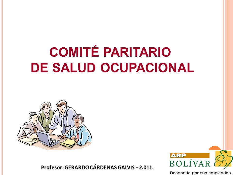 COMITÉ PARITARIO DE SALUD OCUPACIONAL Profesor: GERARDO CÁRDENAS GALVIS - 2.011.