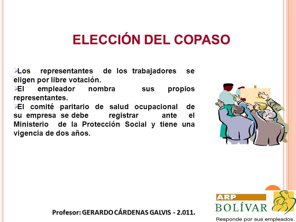 ELECCIÓN DEL COPASO Los representantes de los trabajadores se eligen por libre votación. El empleador nombra sus propios representantes. El comité par