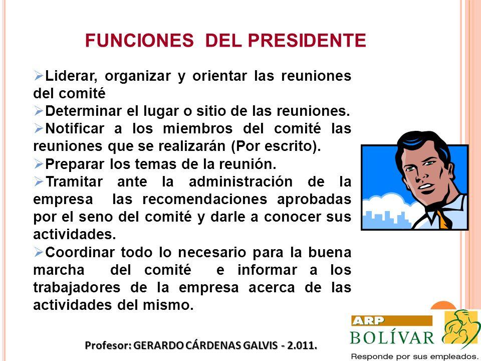 FUNCIONES DEL PRESIDENTE Liderar, organizar y orientar las reuniones del comité Determinar el lugar o sitio de las reuniones. Notificar a los miembros