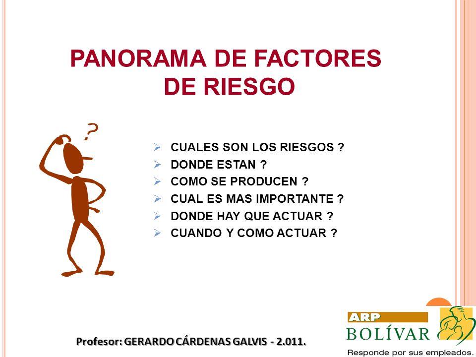 PANORAMA DE FACTORES DE RIESGO CUALES SON LOS RIESGOS ? DONDE ESTAN ? COMO SE PRODUCEN ? CUAL ES MAS IMPORTANTE ? DONDE HAY QUE ACTUAR ? CUANDO Y COMO
