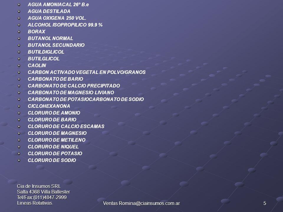 5 Cia de Insumos SRL Salta 4368 Villa Ballester Tel/Fax:(011)4847-2999 Lineas Rotativas.Ventas Romina@ciainsumos.com.ar AGUA AMONIACAL 26º B.e AGUA DE