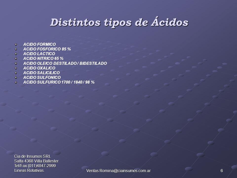6 Cia de Insumos SRL Salta 4368 Villa Ballester Tel/Fax:(011)4847-2999 Lineas Rotativas.Ventas Romina@ciainsumos.com.ar Distintos tipos de Ácidos ACID