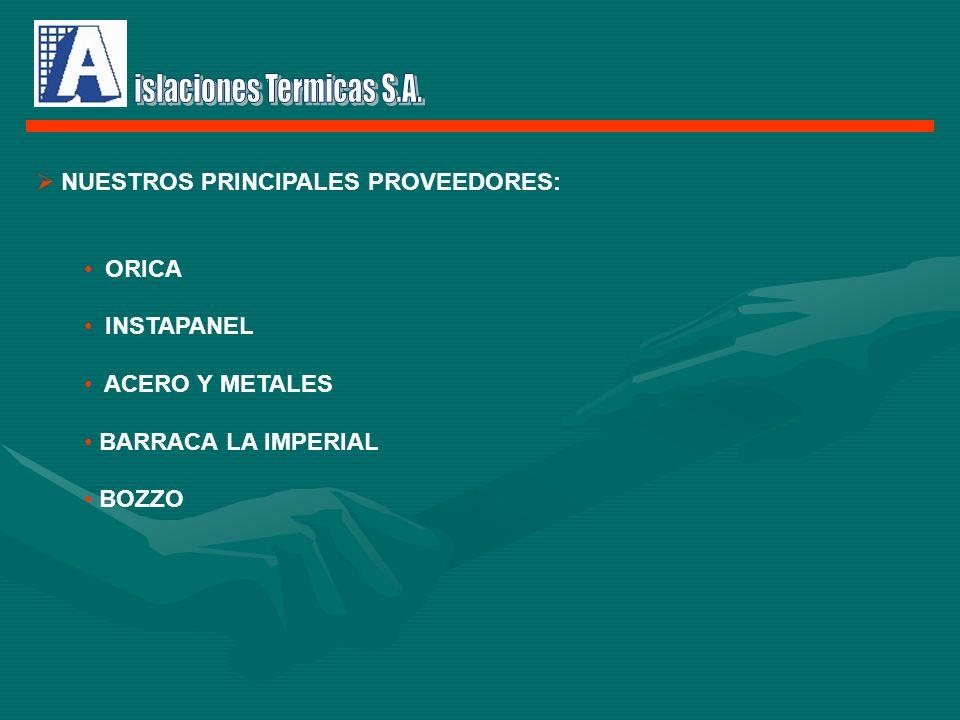 NUESTROS PRINCIPALES PROVEEDORES: ORICA INSTAPANEL ACERO Y METALES BARRACA LA IMPERIAL BOZZO