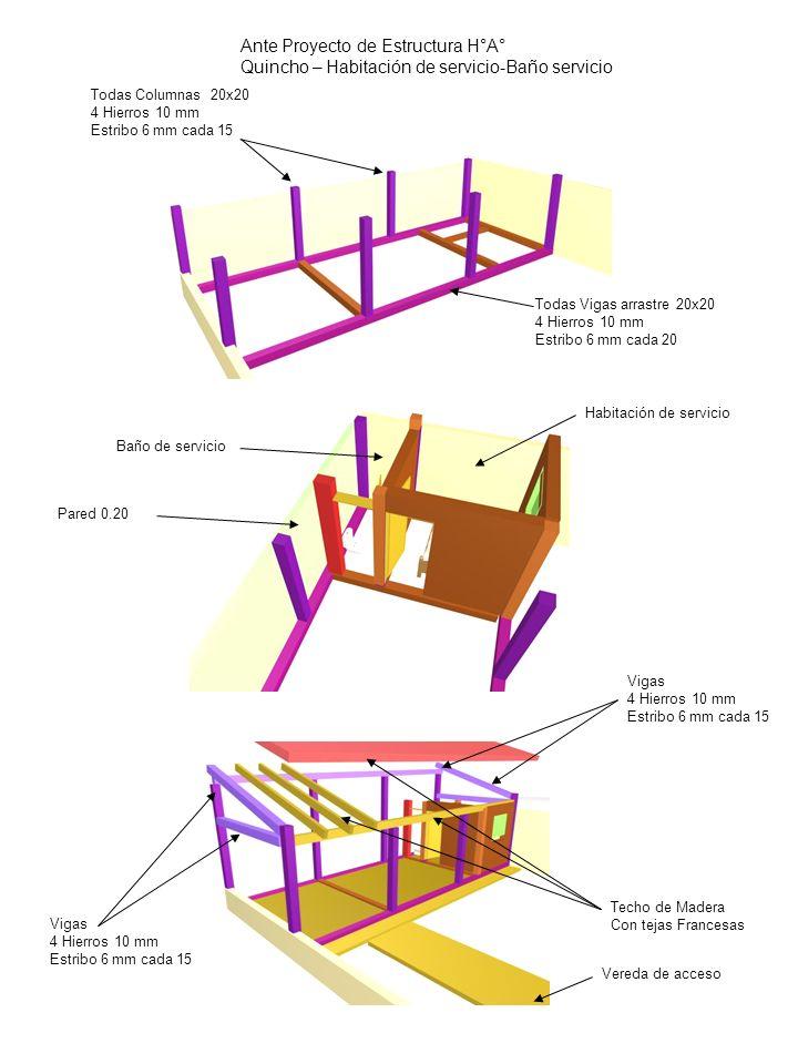Ante Proyecto de Estructura H°A° Quincho – Habitación de servicio-Baño servicio Todas Vigas arrastre 20x20 4 Hierros 10 mm Estribo 6 mm cada 20 Todas
