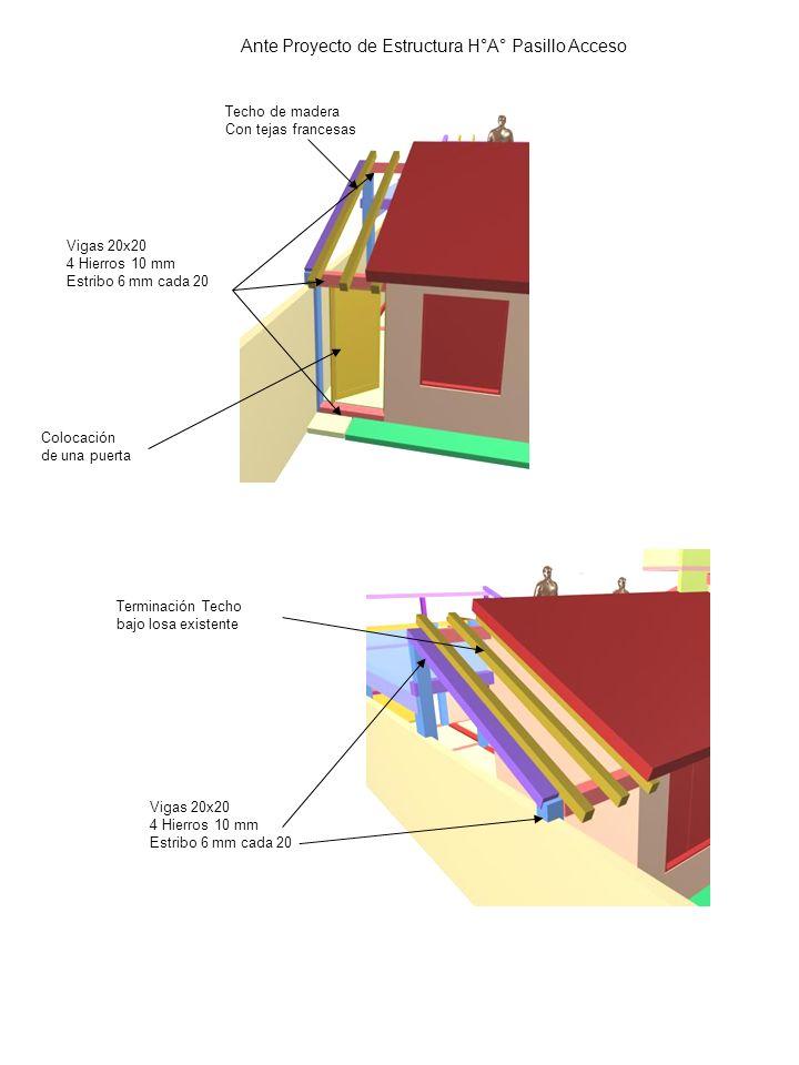 Ante Proyecto de Estructura H°A° Pasillo Acceso Vigas 20x20 4 Hierros 10 mm Estribo 6 mm cada 20 Techo de madera Con tejas francesas Vigas 20x20 4 Hie
