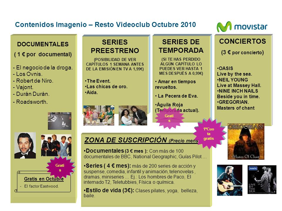 Contenidos Imagenio – Resto Videoclub Octubre 2010 DOCUMENTALES ( 1 por documental) - El negocio de la droga. - Los Ovnis. - Robert de Niro. - Vajont.