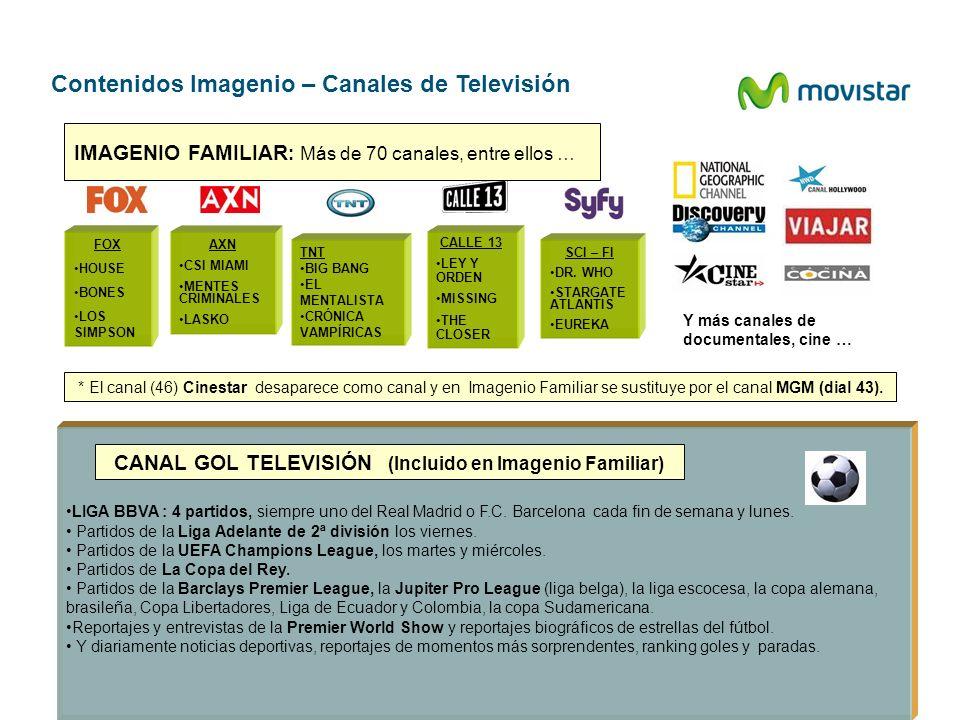 Contenidos Imagenio – Canales de Televisión FOX HOUSE BONES LOS SIMPSON LIGA BBVA : 4 partidos, siempre uno del Real Madrid o F.C. Barcelona cada fin