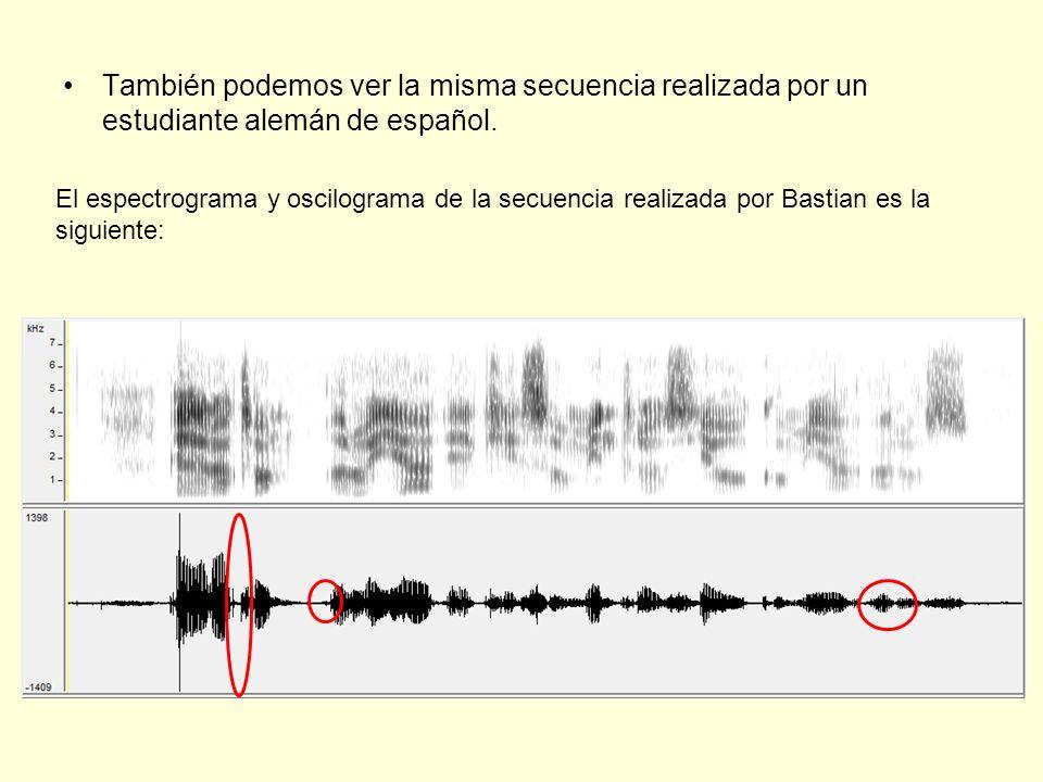 También podemos ver la misma secuencia realizada por un estudiante alemán de español. El espectrograma y oscilograma de la secuencia realizada por Bas