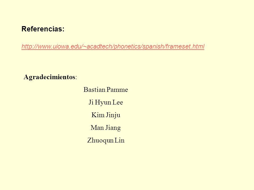 http://www.uiowa.edu/~acadtech/phonetics/spanish/frameset.html Referencias: Agradecimientos: Bastian Pamme Ji Hyun Lee Kim Jinju Man Jiang Zhuoqun Lin