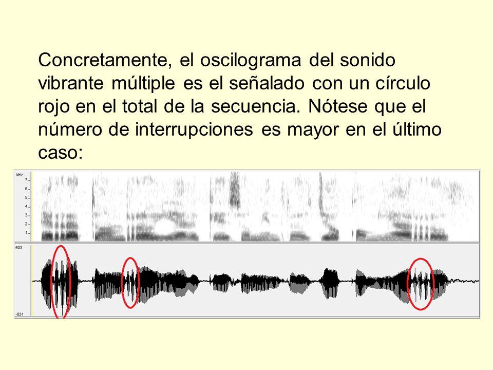 Concretamente, el oscilograma del sonido vibrante múltiple es el señalado con un círculo rojo en el total de la secuencia. Nótese que el número de int