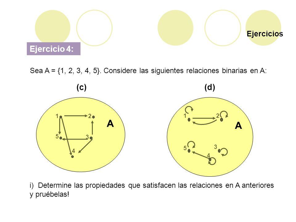 Ejercicios Ejercicio 4: Sea A = {1, 2, 3, 4, 5}. Considere las siguientes relaciones binarias en A: (c)(d) i) Determine las propiedades que satisfacen