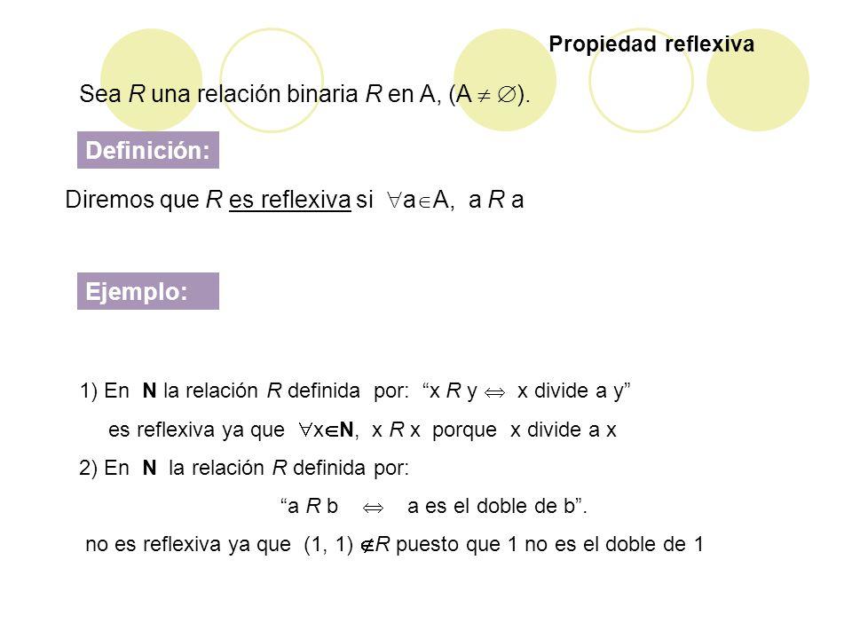 Diremos que R es reflexiva si a A, a R a 1) En N la relación R definida por: x R y x divide a y es reflexiva ya que x N, x R x porque x divide a x 2)