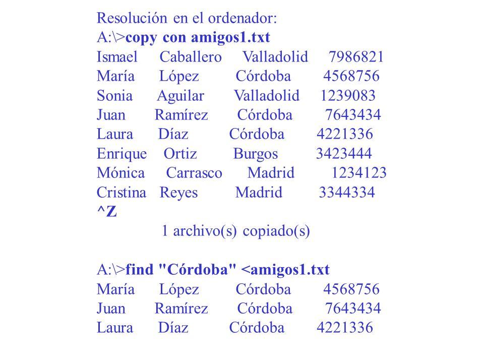 Resolución en el ordenador: A:\>copy con amigos1.txt Ismael Caballero Valladolid 7986821 María López Córdoba 4568756 Sonia Aguilar Valladolid 1239083