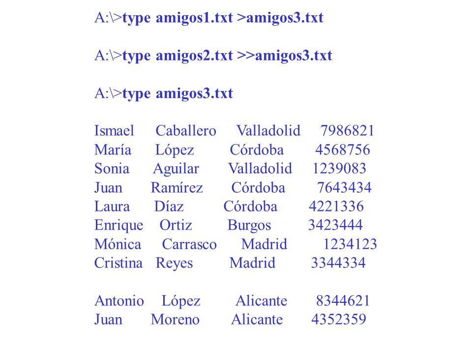 A:\>type amigos1.txt >amigos3.txt A:\>type amigos2.txt >>amigos3.txt A:\>type amigos3.txt Ismael Caballero Valladolid 7986821 María López Córdoba 4568