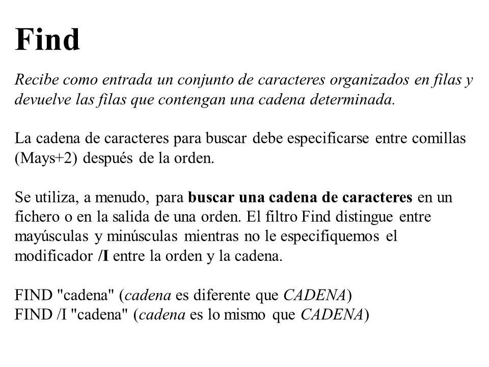 El operador `> también se puede combinar con los filtros del dos.