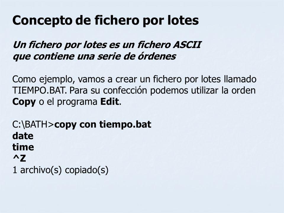 Concepto de fichero por lotes Un fichero por lotes es un fichero ASCII que contiene una serie de órdenes Como ejemplo, vamos a crear un fichero por lo