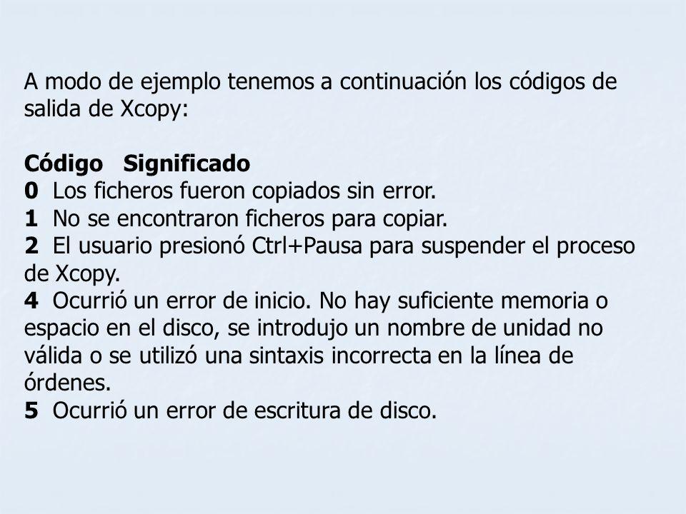 A modo de ejemplo tenemos a continuación los códigos de salida de Xcopy: Código Significado 0 Los ficheros fueron copiados sin error. 1 No se encontra