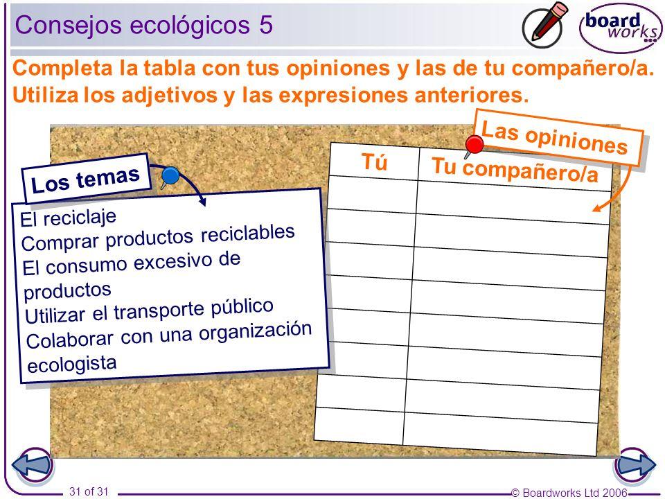 © Boardworks Ltd 2006 31 of 31 Tu compañero/aTú Las opiniones Consejos ecológicos 5 Completa la tabla con tus opiniones y las de tu compañero/a.