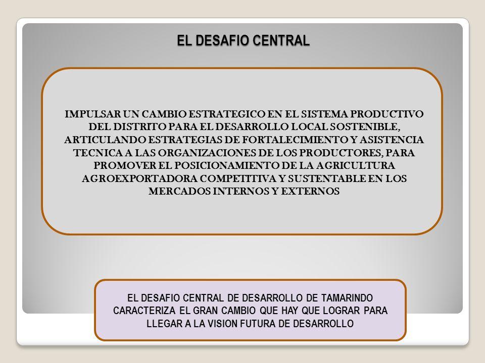 IMPULSAR UN CAMBIO ESTRATEGICO EN EL SISTEMA PRODUCTIVO DEL DISTRITO PARA EL DESARROLLO LOCAL SOSTENIBLE, ARTICULANDO ESTRATEGIAS DE FORTALECIMIENTO Y
