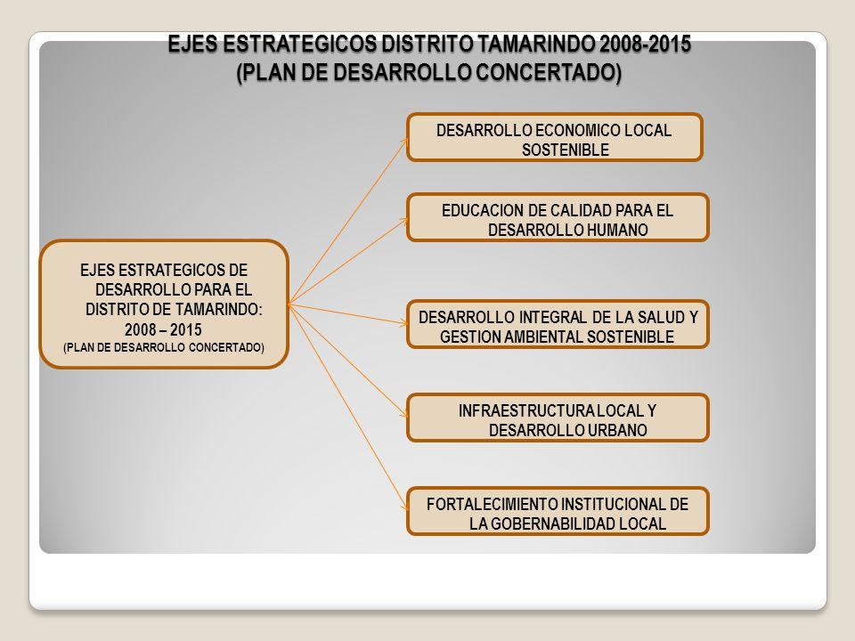 EJES ESTRATEGICOS DISTRITO TAMARINDO 2008-2015 (PLAN DE DESARROLLO CONCERTADO) EJES ESTRATEGICOS DE DESARROLLO PARA EL DISTRITO DE TAMARINDO: 2008 – 2