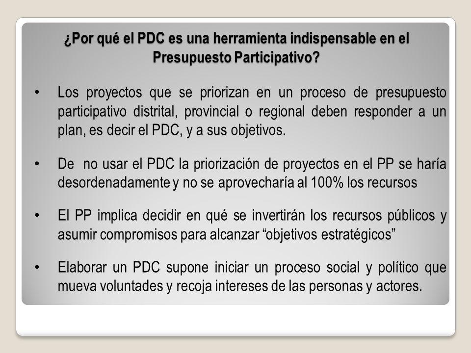 ¿Por qué el PDC es una herramienta indispensable en el Presupuesto Participativo? Los proyectos que se priorizan en un proceso de presupuesto particip