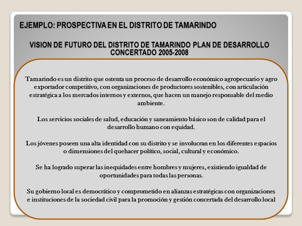 EJEMPLO: PROSPECTIVA EN EL DISTRITO DE TAMARINDO Tamarindo es un distrito que ostenta un proceso de desarrollo económico agropecuario y agro exportado