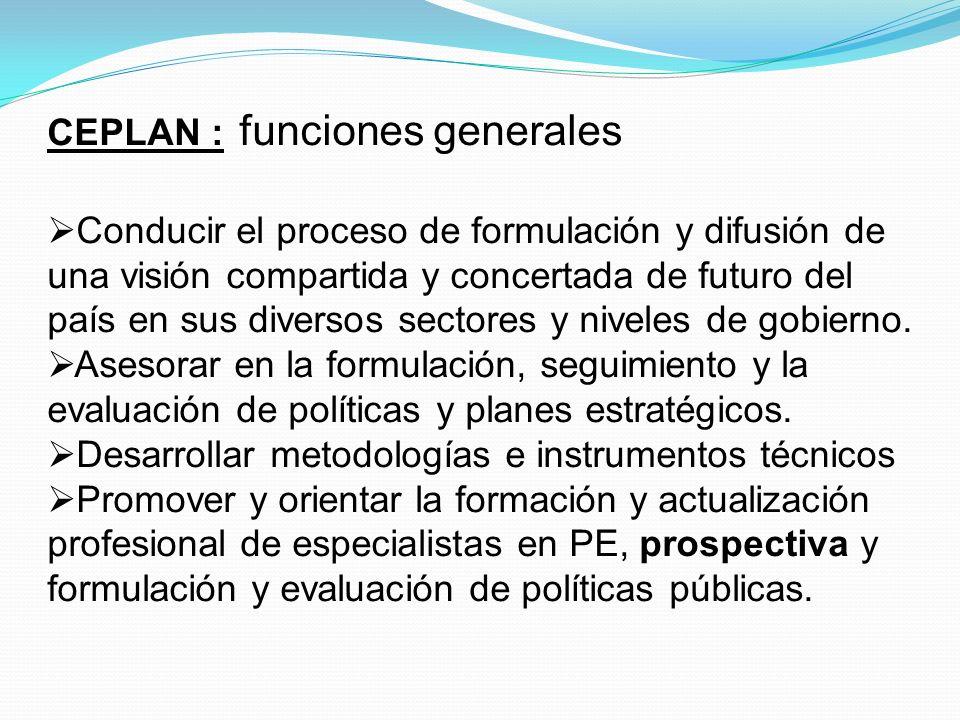 CEPLAN : funciones generales Articular las propuestas para la elaboración del PLADES.