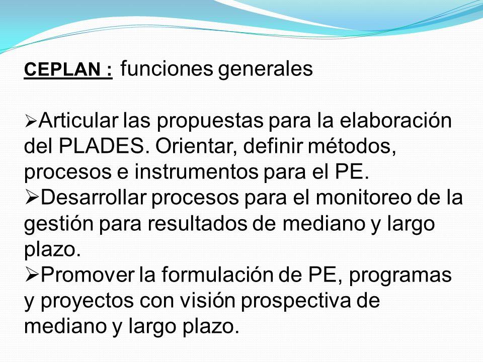 CEPLAN : funciones especiales En materia de prospectiva: Orientar y desarrollar estudios estratégicos para la identificación de tendencias internacionales, oportunidades, riesgos y contingencias y plantear acciones estratégicas.