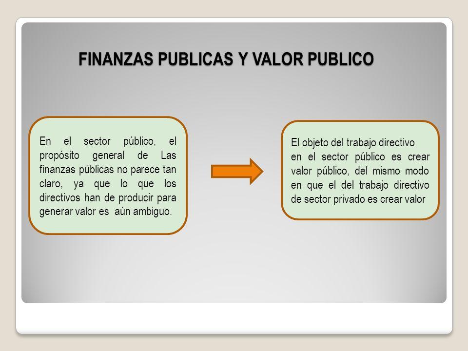 FINANZAS PUBLICAS Y VALOR PUBLICO En el sector público, el propósito general de Las finanzas públicas no parece tan claro, ya que lo que los directivo