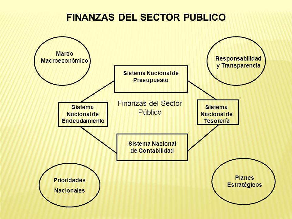 FINANZAS DEL SECTOR PUBLICO Finanzas del Sector Público Sistema Nacional de Endeudamiento Sistema Nacional de Tesorería Sistema Nacional de Contabilid
