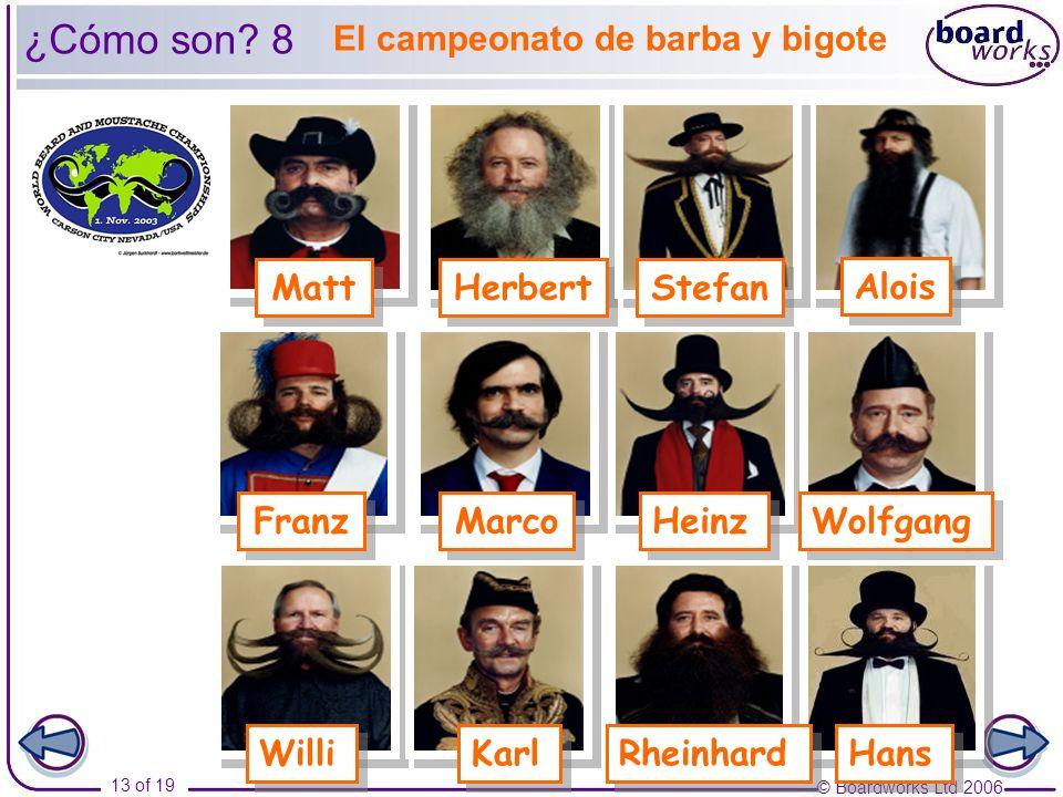 © Boardworks Ltd 2006 13 of 19 El campeonato de barba y bigote Rheinhard Herbert Alois Stefan Marco Wolfgang Heinz Willi Karl Franz Matt ¿Cómo son? 8