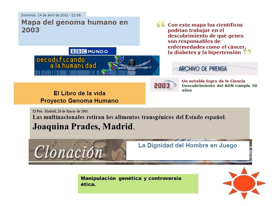 Un notable logro de la Ciencia Descubrimiento del ADN cumple 50 años El País. Madrid, 26 de Marzo de 2001. Las multinacionales retiran los alimentos t