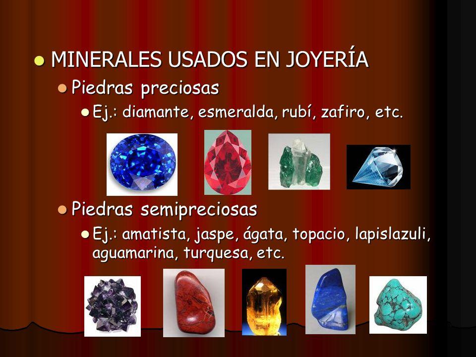 MINERALES USADOS EN JOYERÍA MINERALES USADOS EN JOYERÍA Piedras preciosas Piedras preciosas Ej.: diamante, esmeralda, rubí, zafiro, etc. Ej.: diamante