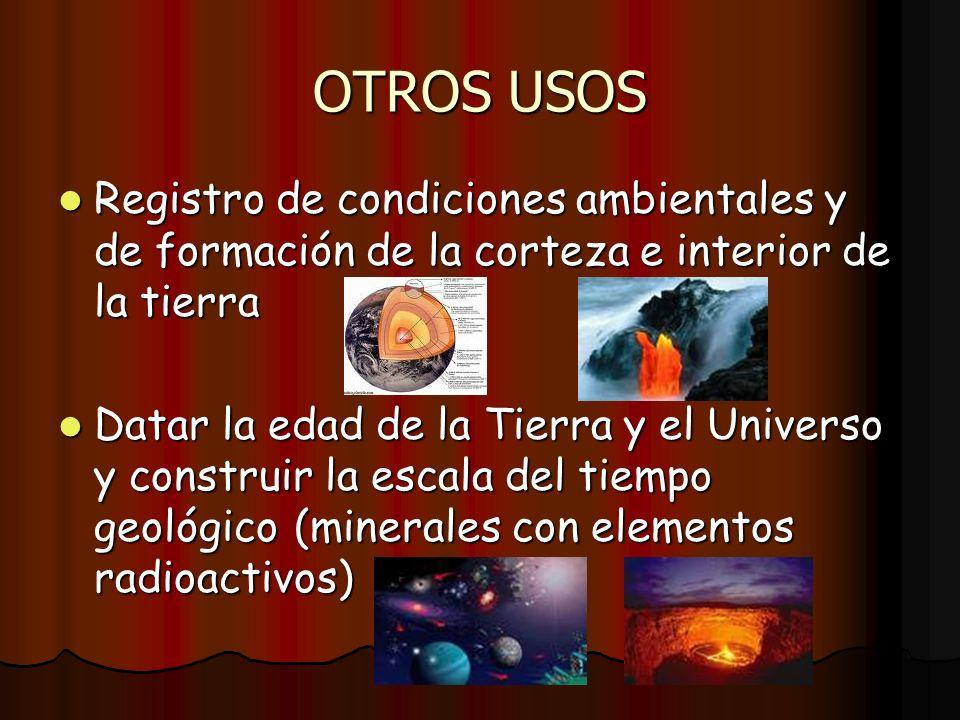OTROS USOS Registro de condiciones ambientales y de formación de la corteza e interior de la tierra Registro de condiciones ambientales y de formación