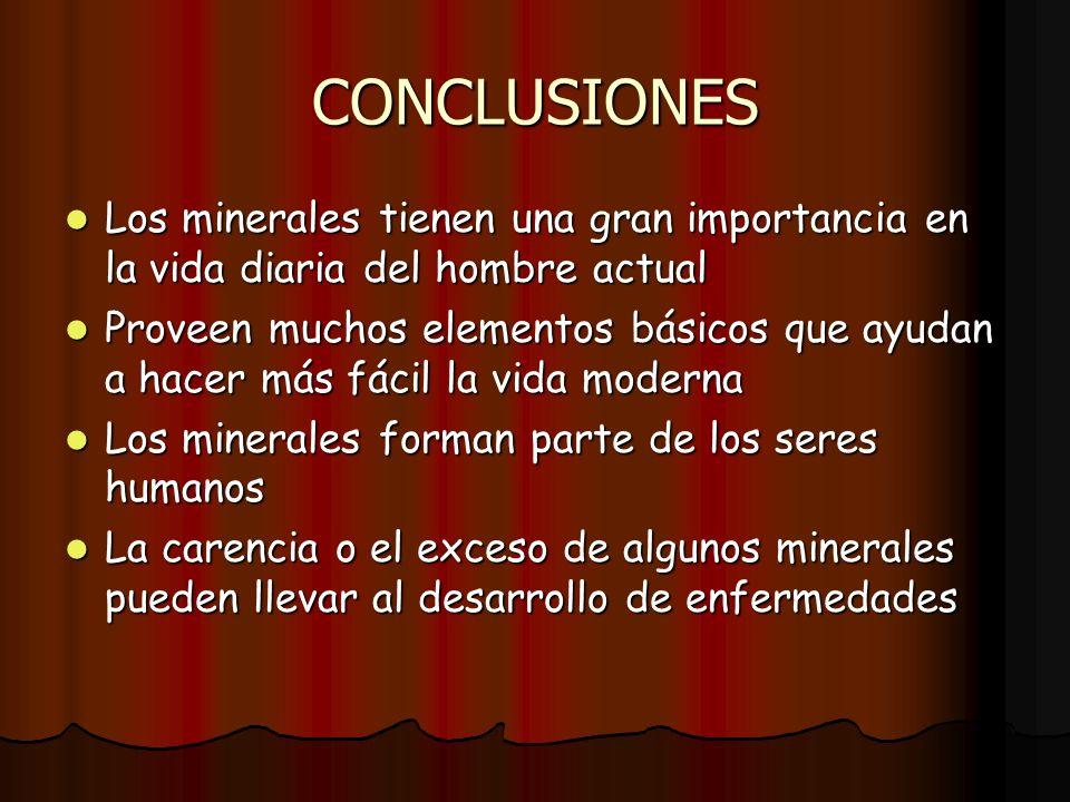 CONCLUSIONES Los minerales tienen una gran importancia en la vida diaria del hombre actual Los minerales tienen una gran importancia en la vida diaria