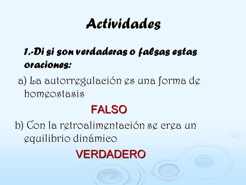 Actividades 1.-Di si son verdaderas o falsas estas oraciones: a) La autorregulación es una forma de homeostasis FALSO b) Con la retroalimentación se c