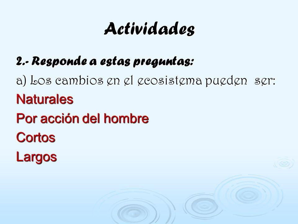Actividades 2.- Responde a estas preguntas: a) Los cambios en el ecosistema pueden ser: Naturales Por acción del hombre Cortos Largos