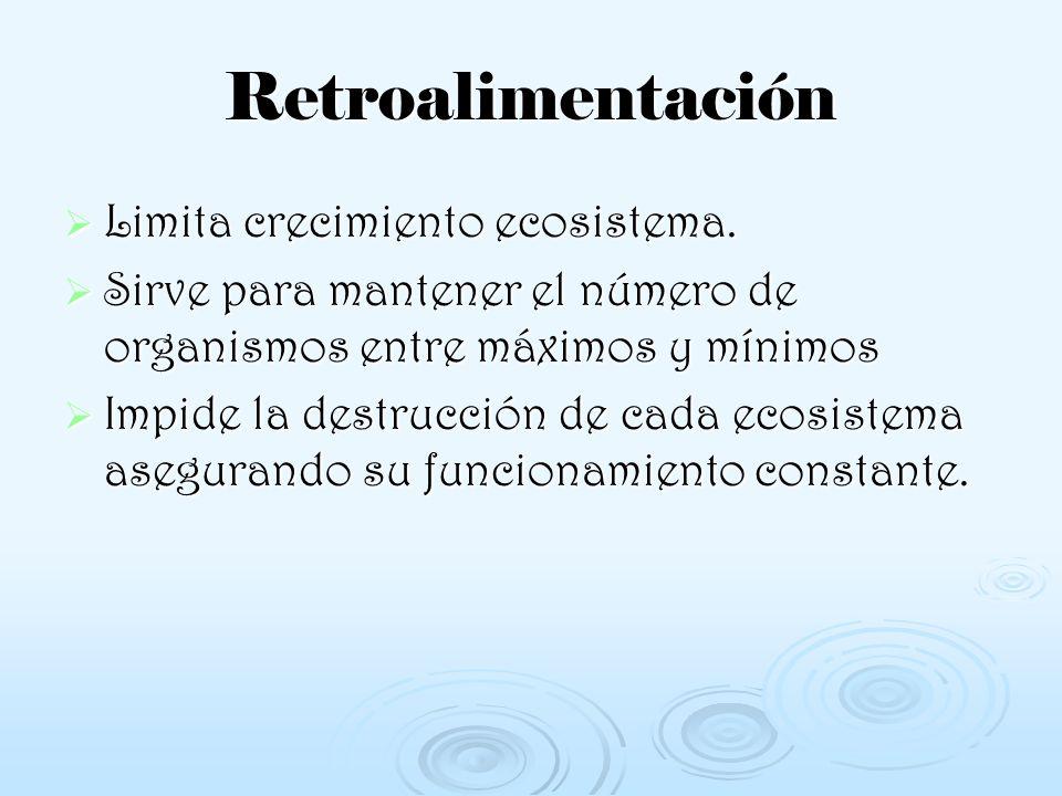 Retroalimentación Limita crecimiento ecosistema. Sirve para mantener el número de organismos entre máximos y mínimos Impide la destrucción de cada eco