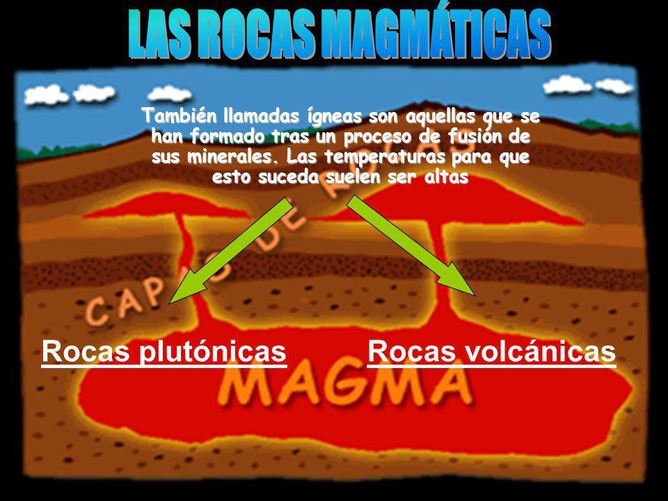 También llamadas ígneas son aquellas que se han formado tras un proceso de fusión de sus minerales. Las temperaturas para que esto suceda suelen ser a