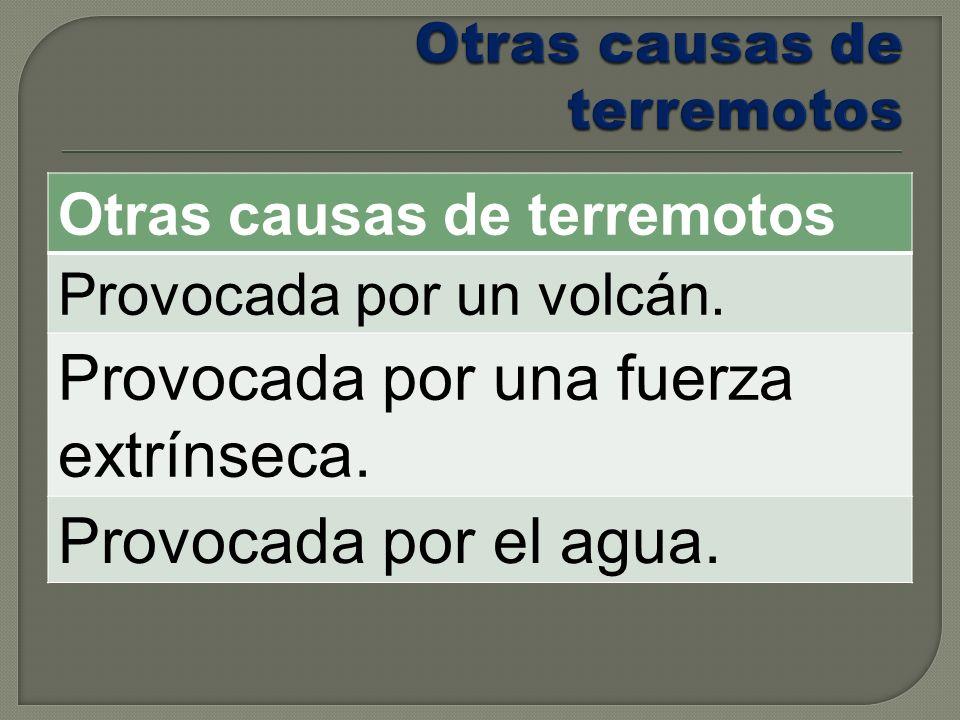 Otras causas de terremotos Provocada por un volcán. Provocada por una fuerza extrínseca. Provocada por el agua.