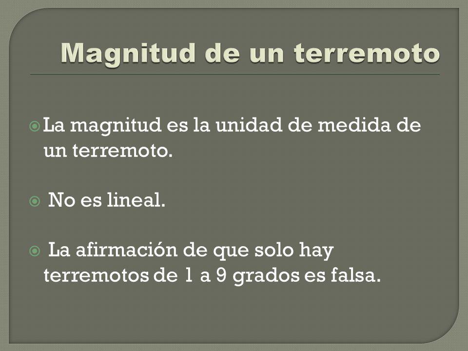 La magnitud es la unidad de medida de un terremoto. No es lineal. La afirmación de que solo hay terremotos de 1 a 9 grados es falsa.
