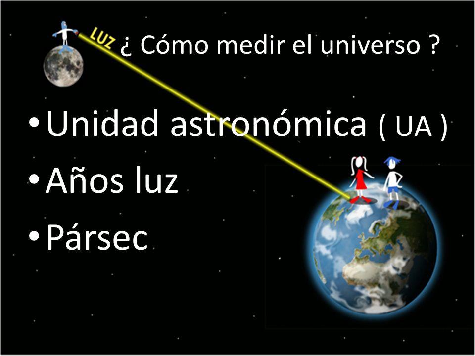 ¿ Cómo medir el universo ? Unidad astronómica ( UA ) Años luz Pársec