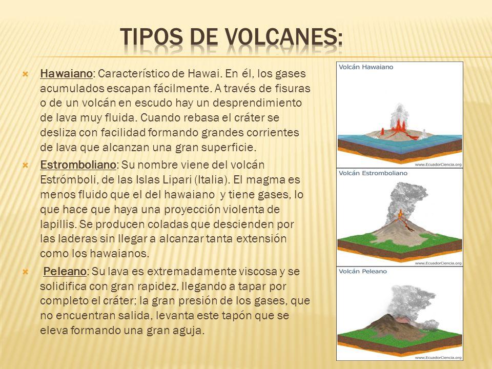 Hawaiano: Característico de Hawai. En él, los gases acumulados escapan fácilmente. A través de fisuras o de un volcán en escudo hay un desprendimiento