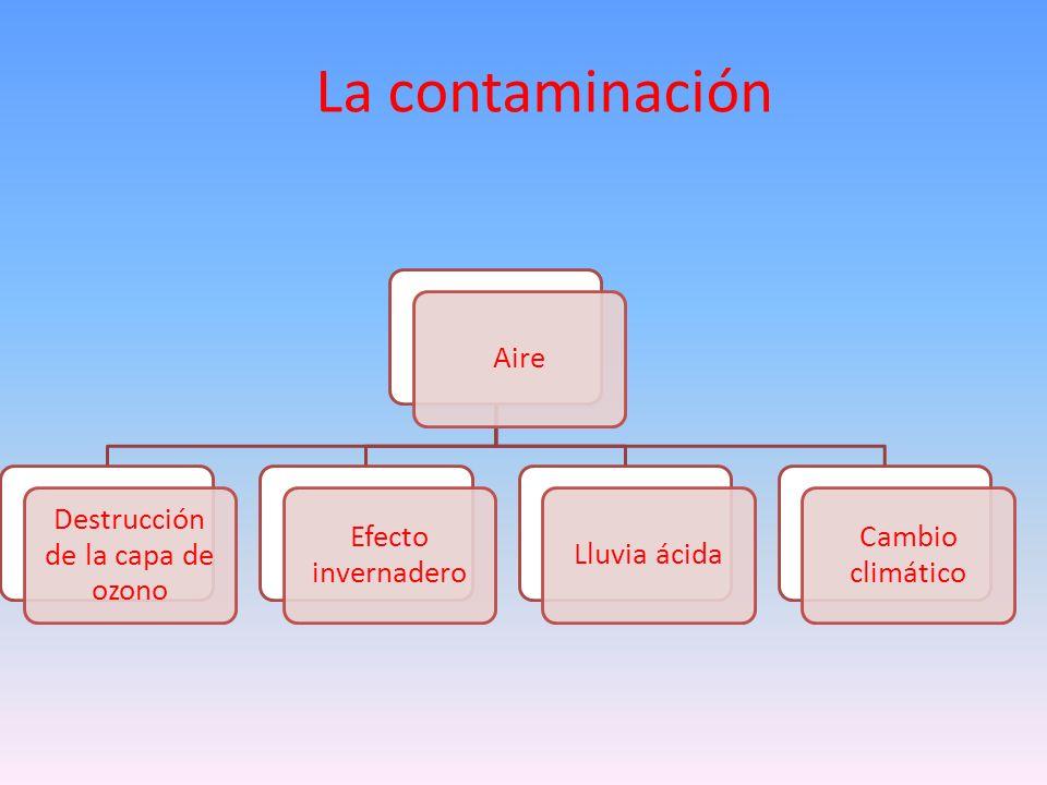 La contaminación Aire Destrucción de la capa de ozono Efecto invernadero Lluvia ácida Cambio climático