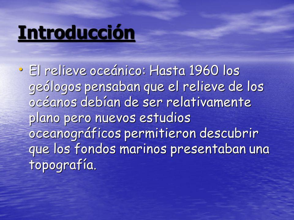 Presenta varias partes: Dorsales Oceánicos Dorsales Oceánicos Fosas Oceánicas Fosas Oceánicas Llanura Abisal Llanura Abisal Plataforma Continental Plataforma Continental Taludes Continentales Taludes Continentales El Rift El Rift