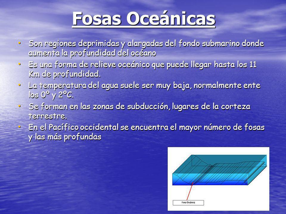 Fosa oceánicaLocalizaciónProfundidad (m) Fosa Challenger o de las MarianasPacífico (S Islas Marianas)11.034 Fosa de TongaPacífico (NE Nueva Zelanda)10.822 Fosa de JapónPacífico (E Japón)10.554 Fosa de las Kuriles o de KamchatkaPacífico (S Islas Kuriles)10.542 Fosa de FilipinasPacífico (E Filipinas)10.540 Fosa de KermadecPacífico (NE Nueva Zelanda)10.047 Fosa de Puerto RicoAtlántico (E Puerto Rico)9.700 Fosa de BougainvillePacífico (E Nueva Guinea)9.140 Fosa de las Sandwich del SurAtlántico (E Islas Sandwich)8.428 Fosa de Perú-Chile o Fosa de AtacamaPacífico (O de Perú y Chile)8.065 Fosa de las AleutianasPacífico (S Islas Aleutianas)7.822 Fosa de las CaimánMar Caribe (S Cuba)7.680 Fosa de JavaÍndico (S Isla de Java)7.450 Fosa de Cabo VerdeAtlántico (O Islas Cabo Verde)7.292